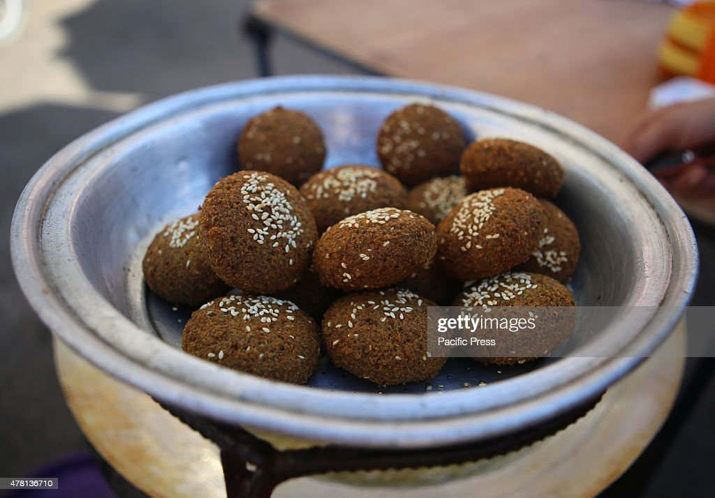 The traditional pancakes known as ''Falafel'' in a street market on the fifth day of the holy month of Ramadan, in Rafah in the southern Gaza Strip.