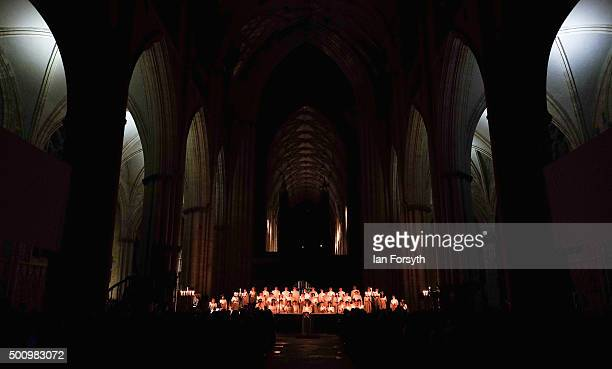 The traditional Swedish festival of Sankta Lucia takes place in front of hundreds of people in York Minster on December 11 2015 in York England The...