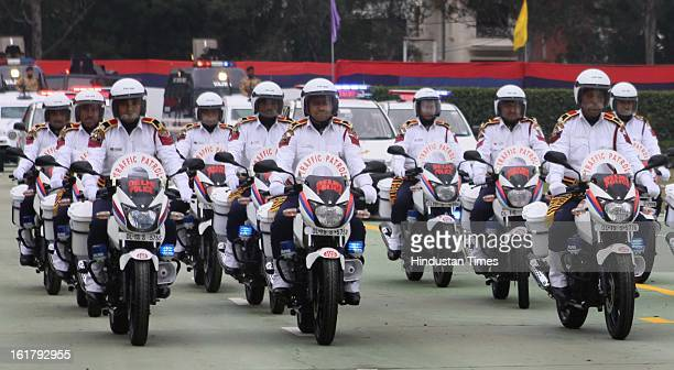 The Traffic Police contigent of Delhi Police during the Raising Day of Delhi Police at New Police Line Grounds on February 16 2013 in New Delhi India
