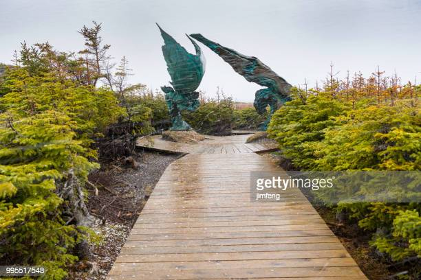 the trail in the norstead viking village - newfoundland and labrador stock pictures, royalty-free photos & images