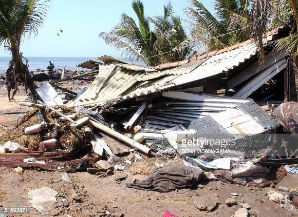The trail of destruction along the coastal railway line in the southern Sri Lankan town of Lunawa is seen in this picture taken 26 December 2004...