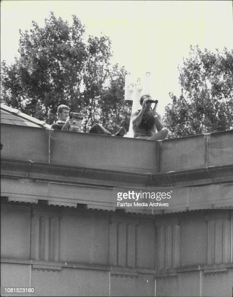 The trail of the Ananda Marga at Central Criminal Court Darlinghurst shows police using a high advantage point on the roof of the courthouse to check...