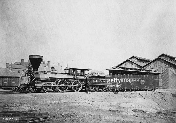 The train carrying President Abraham Lincoln's casket during his funeral remains idle at the station in Washington DC
