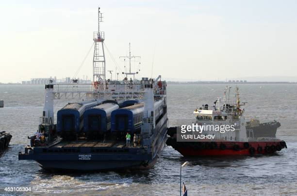 The train ferry carrying the 9coaches MoscowSimferopol train arrives at Port Crimea near Kerch after crossing the Kerch strait from Port Caucasus...