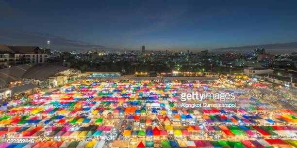 the train night market ratchada, also known as talad nud rod fai, bangkok , thailand. - nud stock photos and pictures
