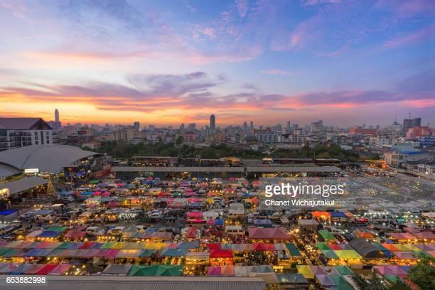 The Train night market Ratchada at Bangkok Thailand.