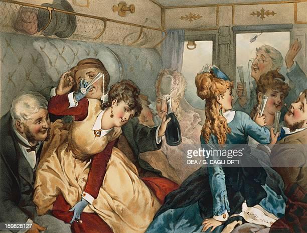 The train of pleasure, illustration for Madame Tellier's House, 1881 story by Guy de Maupassant . Paris, Hôtel Carnavalet , Cabinet Des Arts...