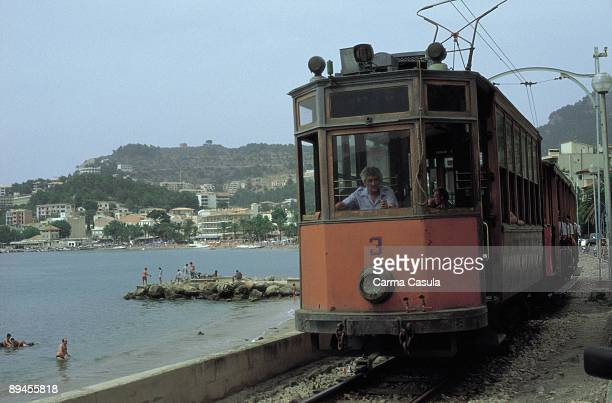 The train of Soller Majorca A driver guides this old train that communicates this town with the coast