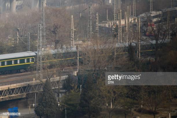 The train used by North Korean leader Kim Jong Un is seen leaving Beijing Railway Station in Beijing on January 9 2019 A special train used by North...