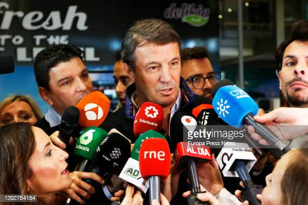 The trainer of the football team of Wuhan 'Ground Zero' of the Coronavirus Jose Manuel Gonzalez speaks to the press after the arrival of the football...