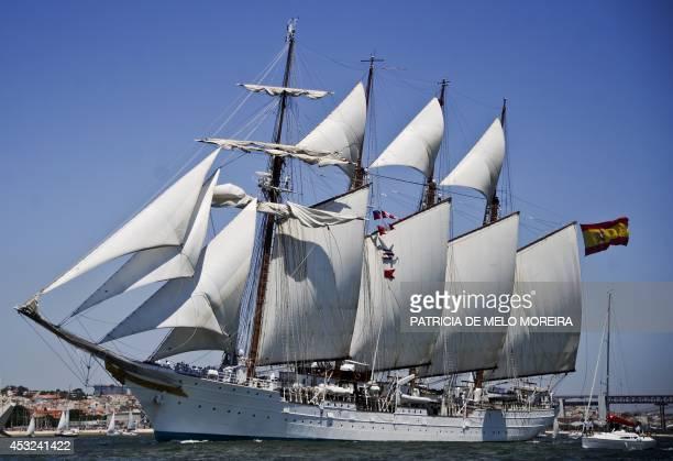 The training ship of the Spanish Armada Juan Sebastian De Elcano sails on the Tejo River in Lisbon on July 22 2012 Spanish Navy announced on August 6...