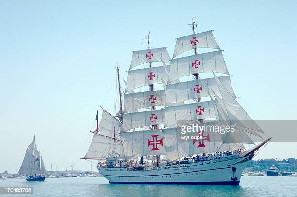 The training ship Sagres was built in 1937 Hamburg, Today N.E. Sagres is known worldwide by the famous red crosses she carries in her square sails,...