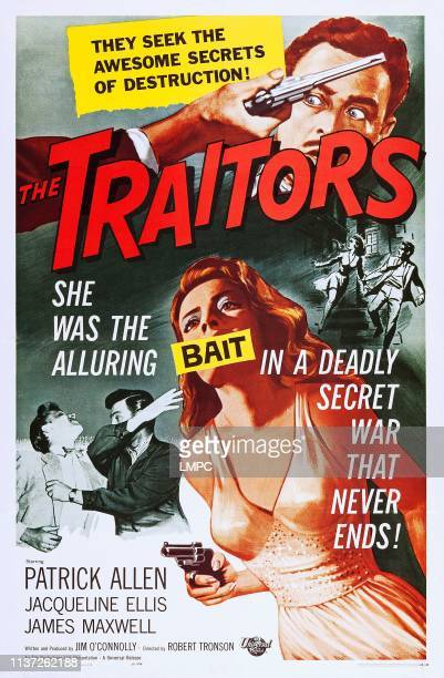 The Traitors, poster, top: Patrick Allen, bottom: Jacqueline Ellis on poster art, 1962.