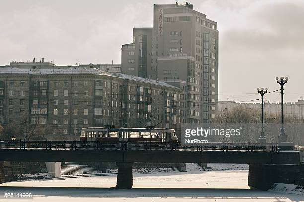 The tram crosses the bridge over the frozen river Lopan in Kharkov Ukraine on 34 January 2016 Severe frosts down to Ukraine in recent days The...