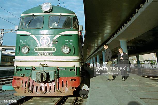 The trans siberian express at beijing train station, ready to leave for ulaanbataar, mongolia. These trains are from former East Germany and are...