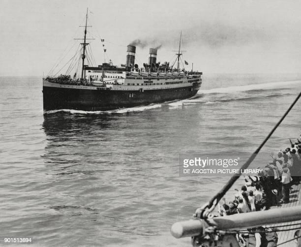 The transatlantic liners Conte Biancamano and Conte Grande meet in the Atlantic Ocean from L'Illustrazione Italiana year LVIII n 39 September 27 1931
