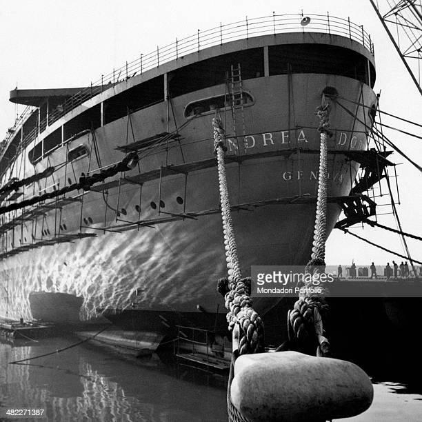 The transatlantic ship Andrea Doria moored at the harbour 1950s