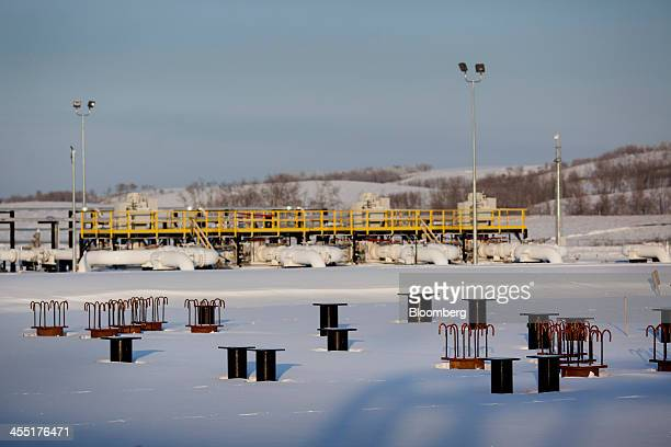 The TransCanada Corp Hardisty Terminal 2 currently under construction in anticipation of the Keystone XL pipeline approval stands in Hardisty Alberta...