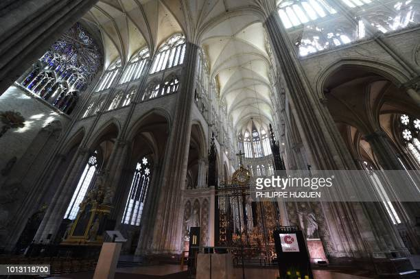 The transept of the Cathedral Basilica of Our Lady in Amiens northern France is pictured on August 8 ahead of a ceremony to mark the 100th...
