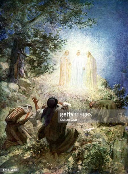 The transfiguration of Jesus before Peter James and John 'And behold a voice out of the cloud which said This is my beloved Son in whom I am well...