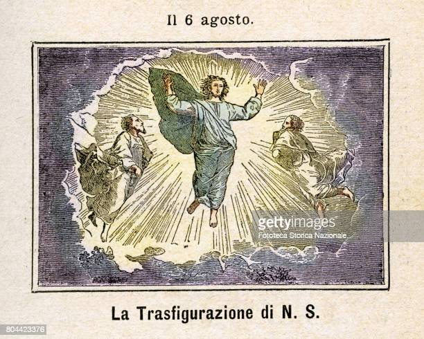 The Transfiguration of Our Lord Colored engraving from Diodore Rahoult Italy 1886