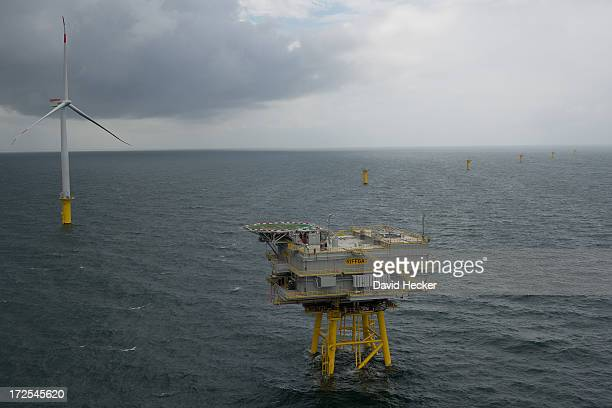 The transformer station stands at the nearly completed Riffgat offshore wind farm in the North Sea on June 23 2013 near Borkum Germany The Riffgat...