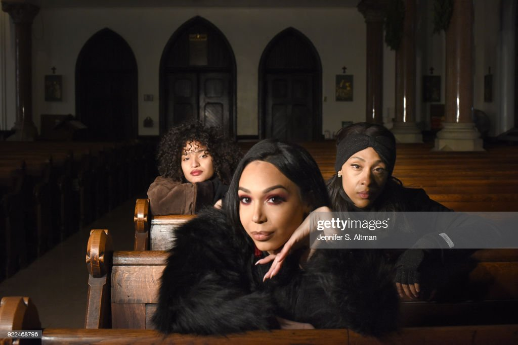 The transgender cast members of the film 'Saturday Church' (l-r): actors Indya Moore, Alexia Garcia and Mj Rodriguez are photographed for Los Angeles Times on January 2, 2018 at St. Peter's Episcopal Church in the Bronx, New York.