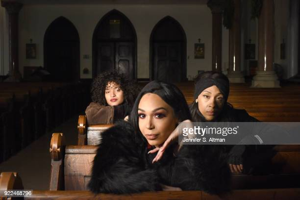 The transgender cast members of the film Saturday Church actors Indya Moore Alexia Garcia and Mj Rodriguez are photographed for Los Angeles Times on...