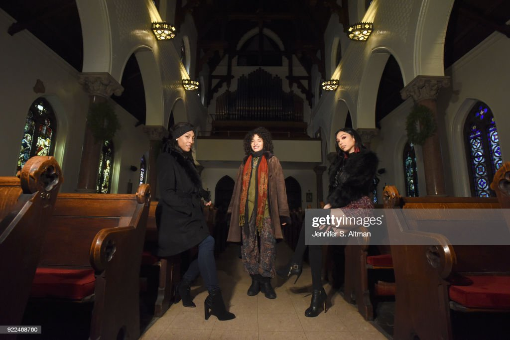The transgender cast members of the film 'Saturday Church' (l-r): actors Mj Rodriguez Indya Moore and Alexia Garcia are photographed for Los Angeles Times on January 2, 2018 at St. Peter's Episcopal Church in the Bronx, New York. PUBLISHED