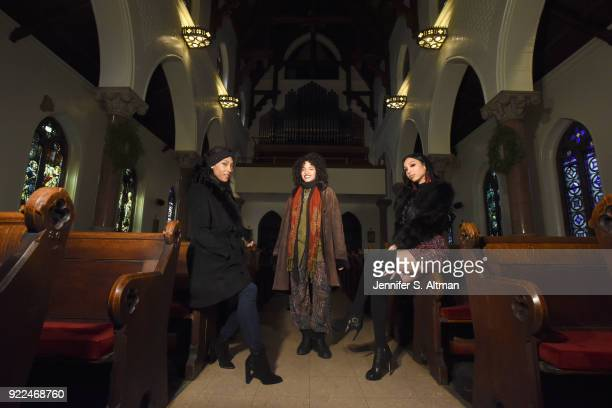 The transgender cast members of the film Saturday Church actors Mj Rodriguez Indya Moore and Alexia Garcia are photographed for Los Angeles Times on...