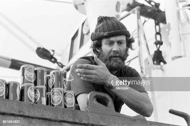 The Transglobe Expedition returns home. Sir Ranulph Fiennes aboard the Transglobe Expedition boat the Benjamin Bowrin, anchored off Southend Pier....