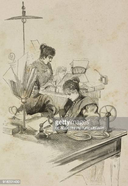 The translation table at the telegraphic office of Milan Italy engraving by Ernesto Mancastropa after a drawing by E Ximenes from L'Illustrazione...