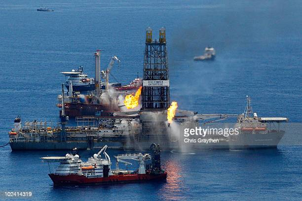 The Transocean Discoverer Enterprise drillship burns off gas collected at the BP Deepwater Horizon oil spill in the Gulf of Mexico off the coast of...