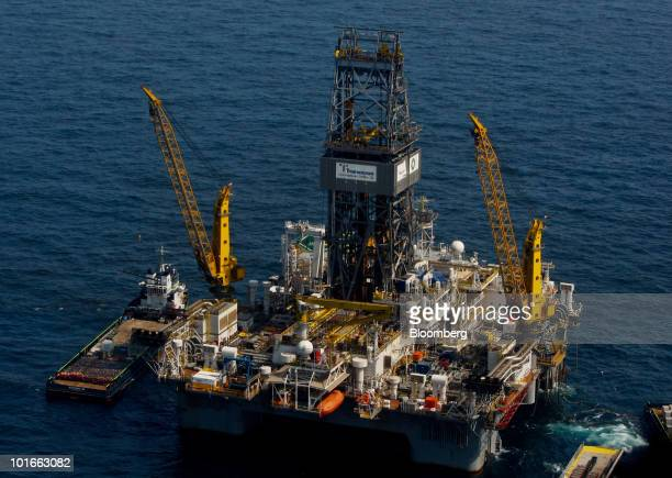 The Transocean Ltd Development Driller III platform leased by BP Plc works to drill a relief well at the BP Deepwater Horizon oil spill site in the...