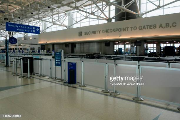 The Transport Security Adminsitration area is seen closed at Fort LauderdaleHollywood International Airport in Fort Lauderdale Florida on September 2...