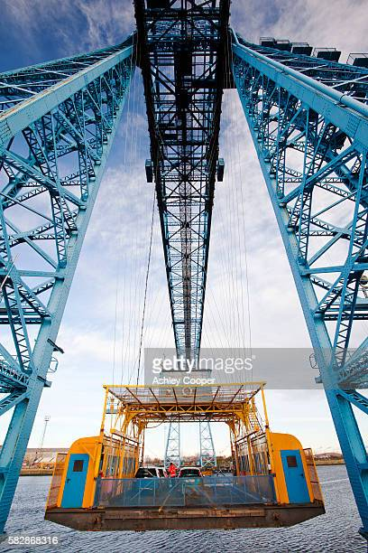 The Transporter Bridge, the iconic blue bridge over the River Tees in Middlesbrough, Teeside, UK.