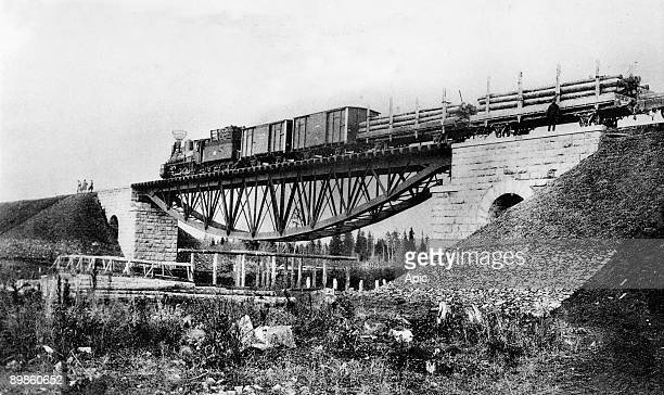 the TransSiberian Railway c 1900 on the bridge over the Kossoul river
