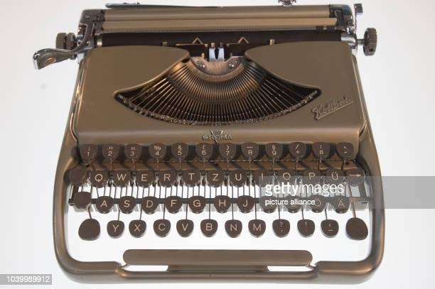 The travel typewriter 'Groma Kolibri Luxus' from VEB Groma Bueromaschinenwerk Markersdorf is on display the exhibition space at the Chemnitz Museum...