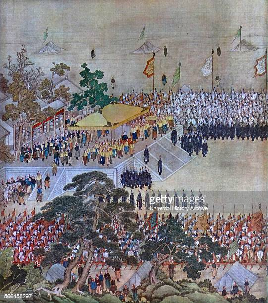 The travelling court of an eighteenth century chinese emperor Possibly the Qianlong Emperor sixth emperor of the Manchuled Qing Dynasty and the...