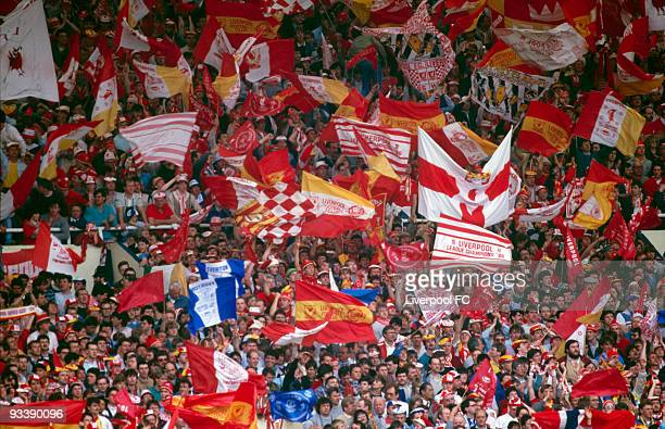 The Travelling Kop fill Wembley during the FA Cup Final between Liverpool and Everton held on May 10 1986 at Wembley Stadium in London England...