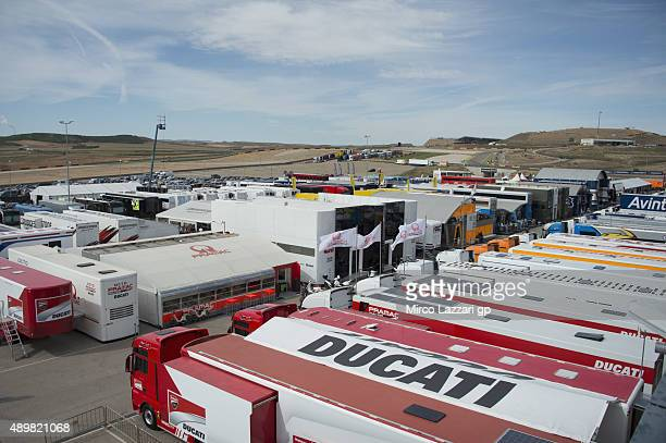The trcuks parking in paddock during the MotoGP of Spain Previews at Motorland Aragon Circuit on September 24 2015 in Alcaniz Spain