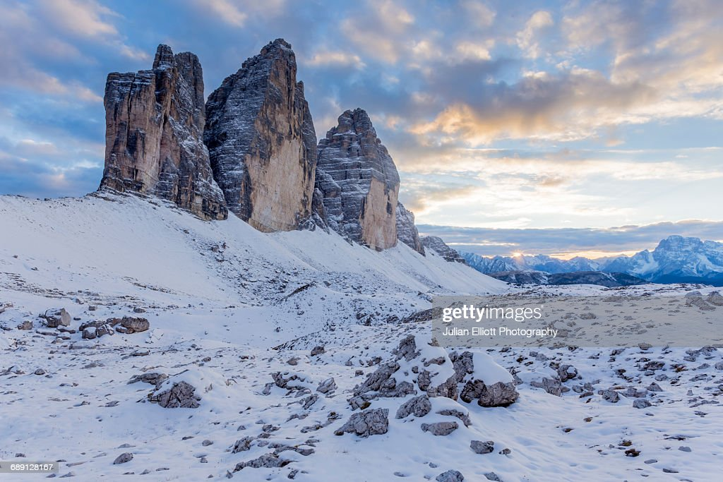 The Tre Cime di Laverado in the Dolomites. : Stock Photo