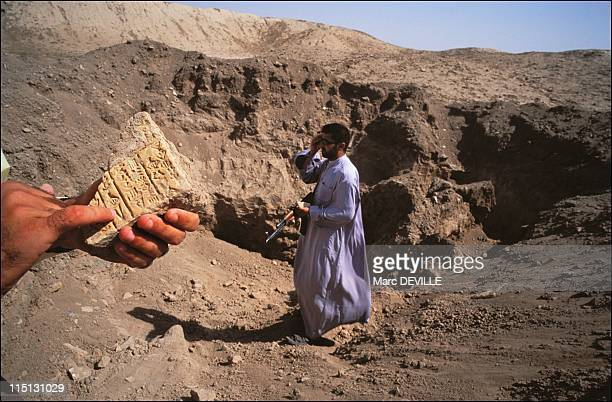The treasures of Baghdad miraculously reappear in Iraq in July 2003 Girsu archeological site southern Iraq vestiges of the sanctuary dedicated to the...