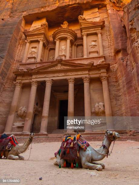 the treasury (kasneh) - petra, jordan - jordan middle east stock pictures, royalty-free photos & images