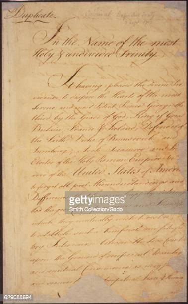 The Treaty of Paris sent to Congress by the American negotiators John Adams Benjamin Franklin and John Jay formally ended the Revolutionary War 1783...