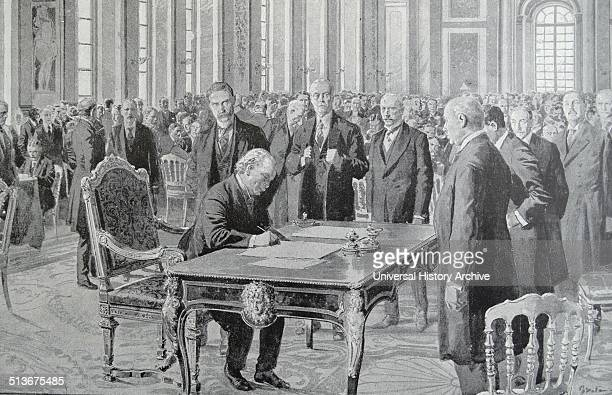The Treaty of Versailles is signed by British Prime Minister David Lloyd George at the end of World War I It was signed on 28 June 1919