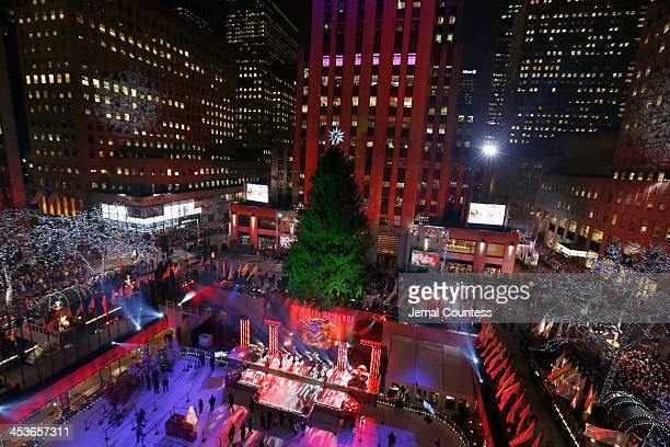 The tree is waiting to be lit during 81st Annual Rockefeller Center Christmas Tree Lighting Ceremony at Rockefeller Center on December 4 2013 in New...
