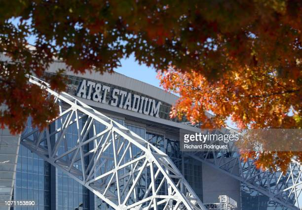 The trees show their fall colors before the football game between the Washington Redskins and Dallas Cowboys at ATT Stadium on November 22 2018 in...