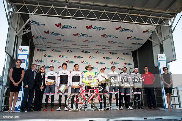 The Trek Factory Racing Team on the podium for winning stage 1 of the Tour of Alberta on September 2 2015 in Grande Prairie Alberta Canada