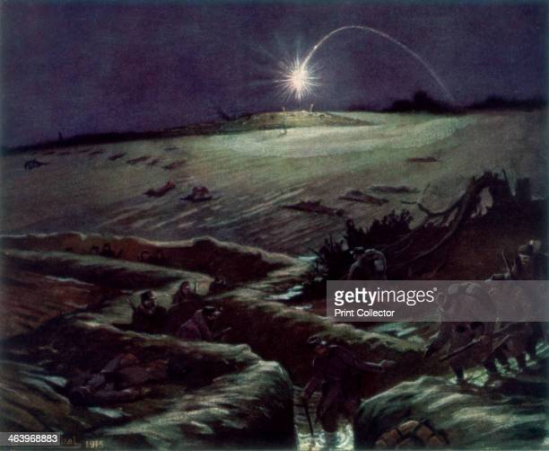 'The Trenches of Noulette' France A French patrol returns to the trenches at night while a flare illuminates no man's land